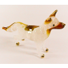 Hand Blown Glass White Dog Gilt 1