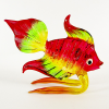 Hand Blown Glass Red-Green-Yellow Fish 1