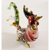 Hand Blown Glass Red-Green-White Rooster Chicken Gilt 1