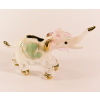 Hand Blown Glass Pink-White Elephant Gilt 1