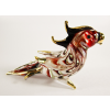 Hand Blown Glass Red-White Parrot Bird Gilt 1