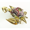 Hand Blown Glass Red-Yellow Crab Gilt #3-1