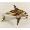 Hand Blown Glass Red-Yellow Dolphin Gilt #2-1