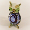 Hand Blown Glass Blue-Brown Owl Gilt 1