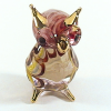 Hand Blown Glass Red-Yellow-Blue Owl Gilt 1